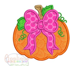 Pumpkin with Bow <3 sizes included: 4x4, 5x7, 6x10> Applique Design Embroidery Machine -Instant Download File
