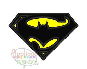 Batman Superman Logo <5 sizes included using hoops - 4x4 5x7 6x10> Applique Design Embroidery Machine -Instant Download File