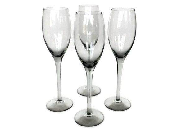 Smokey Champagne Flutes, Blown Glass Wine, Mid Century Bar Glasses