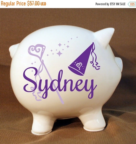 On Sale 8 Princess Piggy Bank With Custom Vinyl Decal