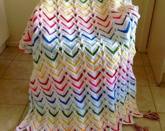Handmade Crochet Long Stitch Ripple Blanket