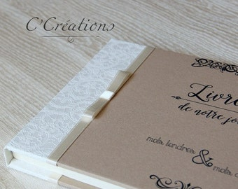 Guestbook Wedding  { Kraft }  colors brown and ivory