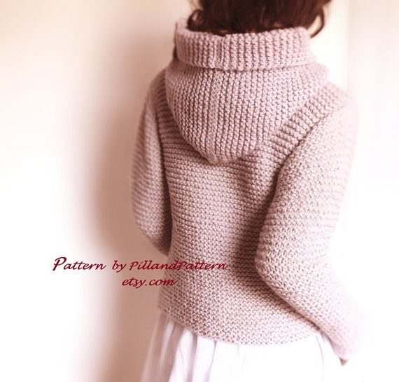 Knitting Pattern For Ladies Hood : Knitting Pattern Hooded Womens Jacket Sweater Easy Knit ...