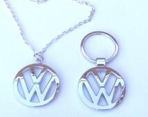 VW Volkswagen Keychain Necklace Pendant Set Volkswagon