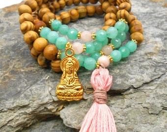 108 Bead Wrist Mala in Wood and Agate  - Boho, Tassel, Prayer Beads, Meditation Beads, Bohemian Boho, Beaded Bracelet