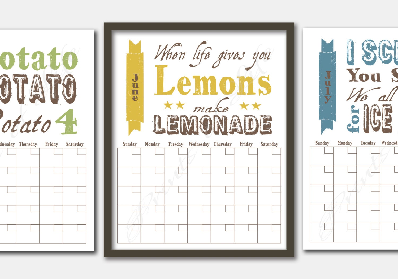 monthly calendar fun food sayings  instant digital download