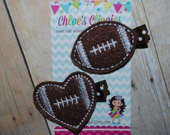 Football and Heart Foot ball Hair Clip set of 2 - Felt Heart Football Clip - Felt Heart Football Bow - Sports Hair Bows - Sports Hair Clips