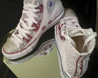 Pearl and Rhinestone High Top Coverse