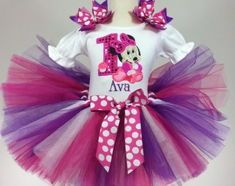 Baby Minnie Mouse Pink, White and Purple  Birthday Number Tutu -Personalized Birthday Tutu,Sizes 6m - 14/16