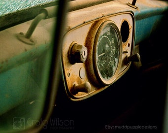 For Him Vintage Car Macro Photography Antique Hillman Husky Classic old Rustic dashboard vintage wall art rust turquoise MuddpuppieDesigns
