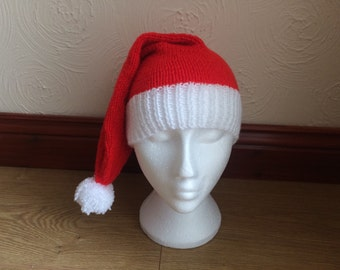 Christmas Hand Knitted Santa Hat Newborn Baby/Child/Boys/Girls