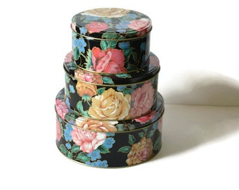 Vintage Tin Set, Floral Tins, Craft Storage, Gift Tins, Gift Boxes,