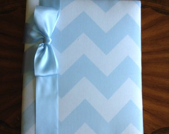 Blue Chevron Photo Album with Ribbon to Hold Your Treasured Memories!
