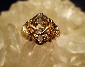 14K. Yellow Gold Band ~Hand Cast~ w/ Diamonds  Unique Antique Style