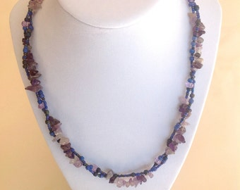 Chip AMETHYST gemstone,  glass, lavender, beaded necklace