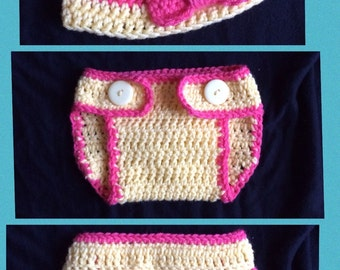Diaper Cover and Hat set with Bow