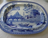 Rare SPODE 14 x 19 inch Blue Staffordshire Platter in the Tiber Pattern. Circa 1811. Made in England.