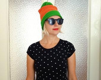 SALE - geometric knit hat, wool beanie, winter hat, green, yellow, red