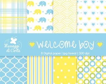 Welcome baby boy - digital paper