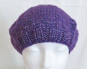 Hand knit girl's beret in purple
