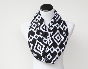 Infinity scarf black white scarf Aztec tribal geometric soft cotton jersey knit loop scarf birthday and Mother's day gift