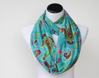 Paisley infinity scarf emerald teal pink maroon traditional Oriental loop scarf Bohemian scarf feminine snood scarf gift for Christmas
