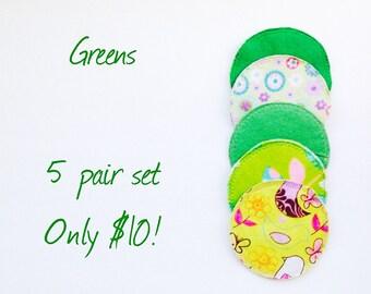 Greens, cloth nursing pads, reusable nursing pads