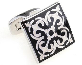 Moroccan Scoll Cufflinks Black and White Intricate Swirled Tile Cuff Links Cufflinks