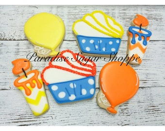 One dozen Birthday Cupcake Balloon and Candle Cookies