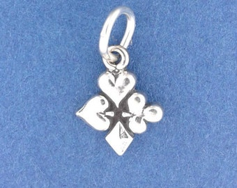 Playing CARD Suits Charm, MINIATURE Small .925 Sterling Silver Charm