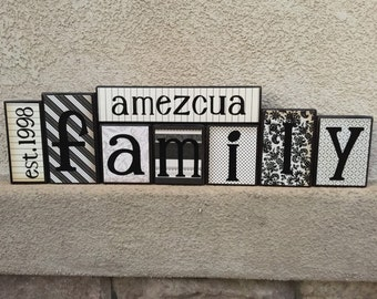 Family blocks - est. year, last name, FAMILY- black and white themed