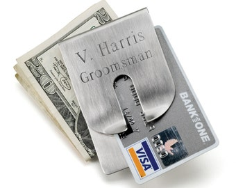 Personalized Stainless Steel Money Clip and Wallet