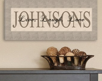 Personalized Canvas Sign - Live, Laugh, Love