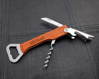 Personalized Wood Handled Wine and Bottle Opener