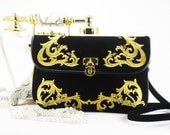 Women's clutch bag with embroidery.Suede bag with embroidery.Black suede bag.Square embroidered evening bag.Bag over his shoulder.