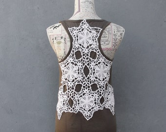 Brown Lace Tank Top with Vintage Handmade Lace, Bohemian Top Size Small/ Medium