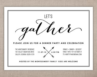 LET'S GATHER - Dinner Party Invitation, Rehearsal Dinner Invitation, The Night Before, Wedding Event Invitation, Engagement Party Invitation