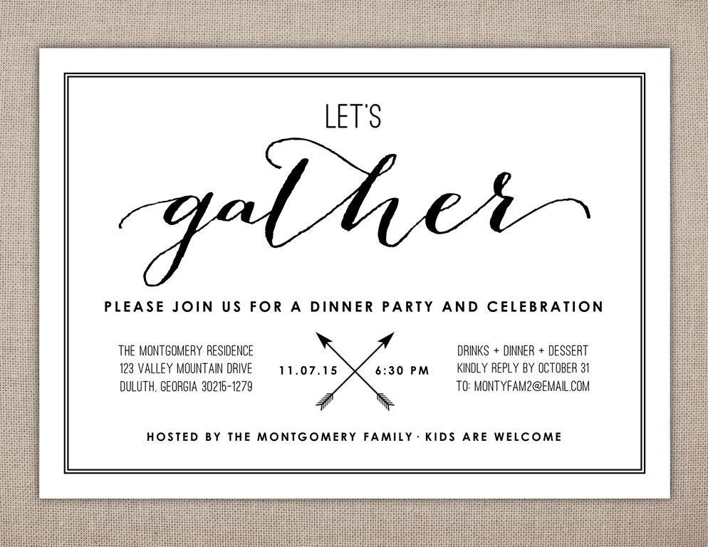 Pre Wedding Dinner Invitation: LET'S GATHER Dinner Party Invitation Rehearsal Dinner