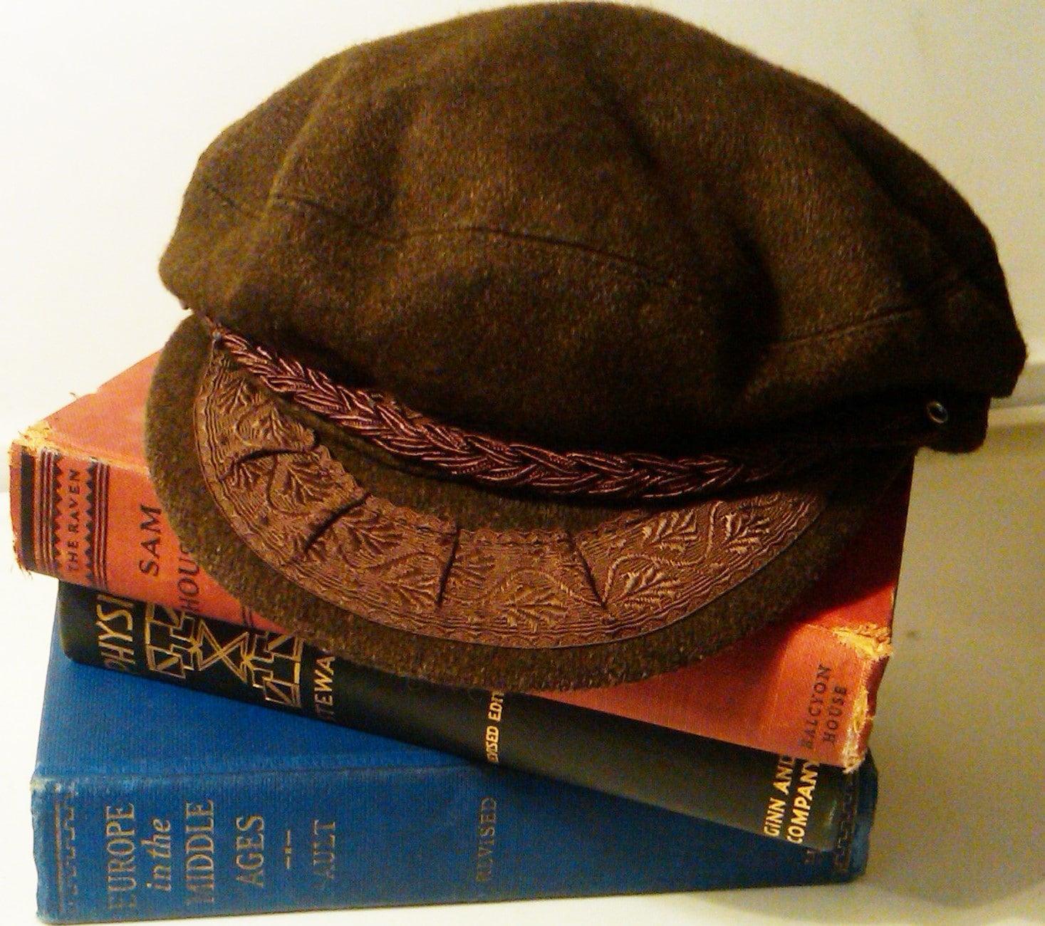 Fishermans Hat: Vintage Greek Fisherman's Hat Greek Sailors Hat Brown