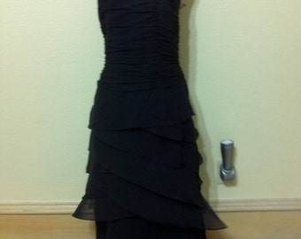 """Vintage Black  Silk Strapless Ruffle Dress by Kay Unger / Bridesmaid/ Prom/ Formal/Grduation size 8 Bust 34"""""""