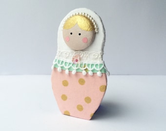 Babushka doll pin, art doll brooch, fibre brooch. Textile pin, clothes embellishment. Pink white and mint FREE SHIPPING as 2d/3d add. item