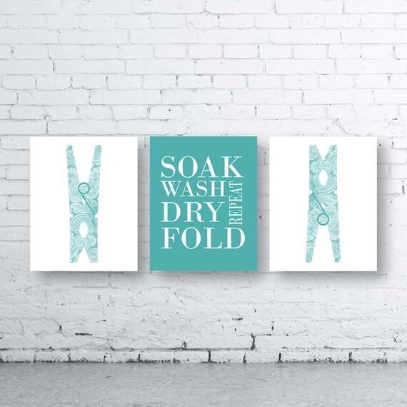 laundry wall art print set of three 3instant download peg. Black Bedroom Furniture Sets. Home Design Ideas
