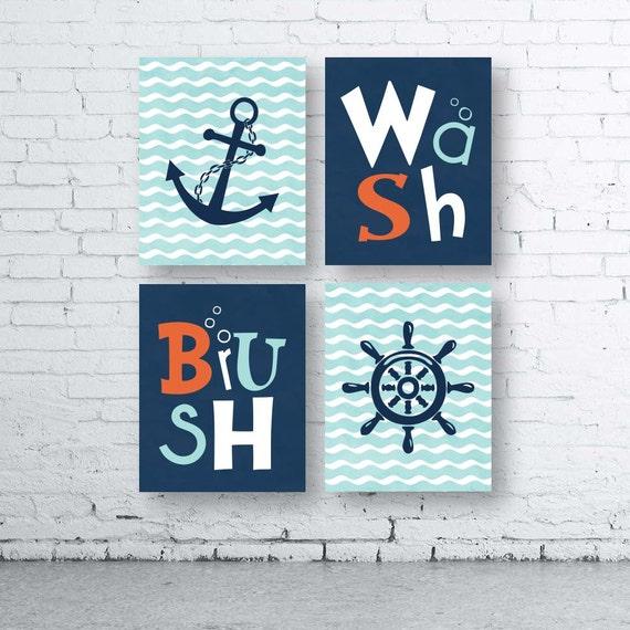 Nautical Bathroom Wall Decor : Nautical bathroom wall art prints set of four instant