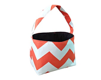 Halloween Trick or Treat Fabric Lolly Candy Basket - Orange Chevron