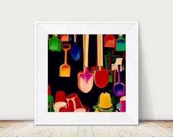 Seaside art, buckets and spades print, still life photography, seaside, bathroom decor, multi colour, original print