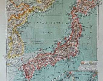 1900 Antique JAPAN & KOREA MAP . 114 years old chart.