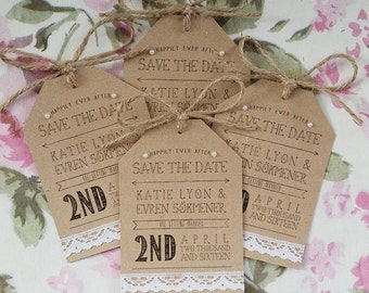 Rustic Wedding Kraft and Lace Small Evening Guest Invitation