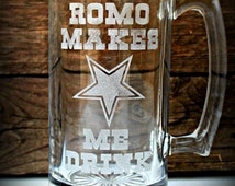 Dallas Cowboys Gift, Dallas Cowboys Beer Mug, Gift for Romo Fans, Football Beer Mug
