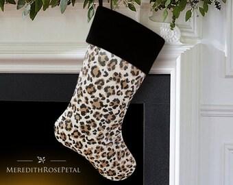SALE! Black Christmas Stocking, Animal Print Christmas Stocking, Animal Print, Silk Christmas Stocking, Velvet Christmas Stocking