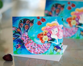 Mermaid Card. Blank Card. Anytime Card. Mermaid Art. 4.25.x5.5
